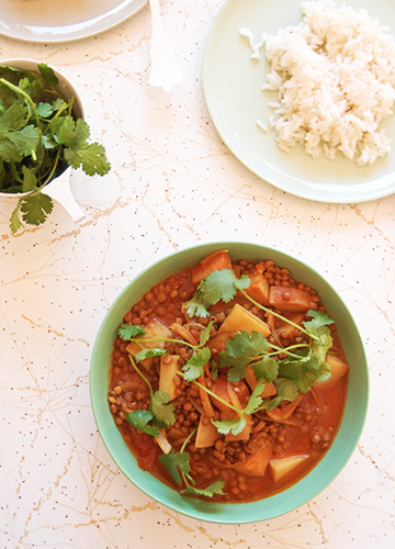 Red Lentil Dahl with Coconut Rice