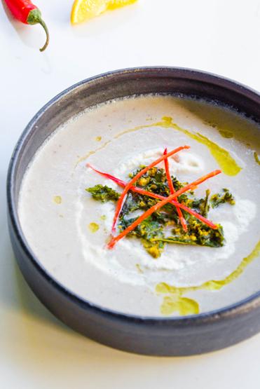 Cauliflower Tahini Soup with Macadamia Lemon Cream