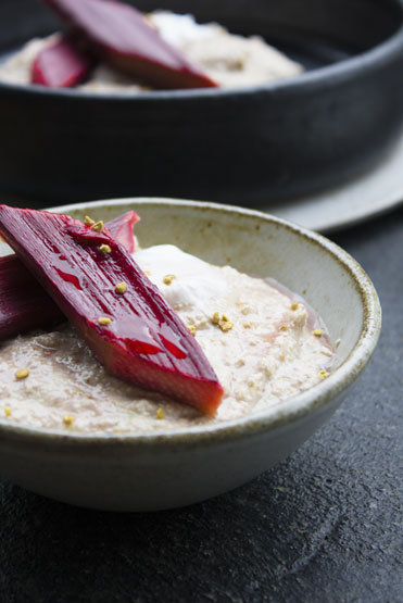 Raw Buckwheat Porridge & Rosewater Rhubarb
