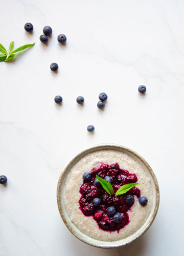 Amaranth Porridge with Lavender Berry Compote