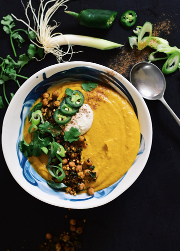 Baked Pumpkin & Sweet Potato Soup with a Crunchy Spiced Topping