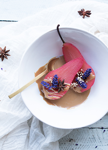 Spiced Hibiscus Poached Pears
