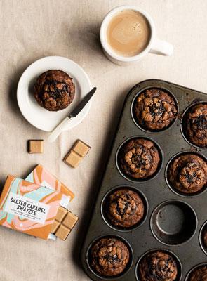 Banana & Salted Caramel Swayzee Choc Muffins